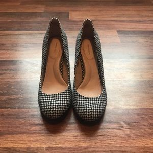 Lands' End houndstooth block heels.